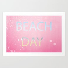 Pink Beach Day  Art Print