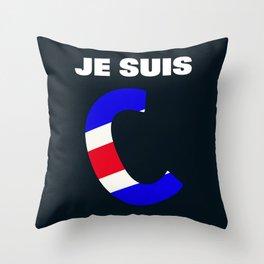 Je Suis Charlie #1  - Navy Alphabet Throw Pillow