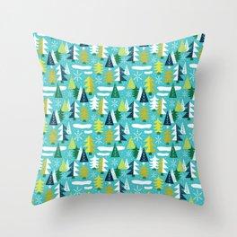 Trees - Xmas Pattern (Blue) Throw Pillow
