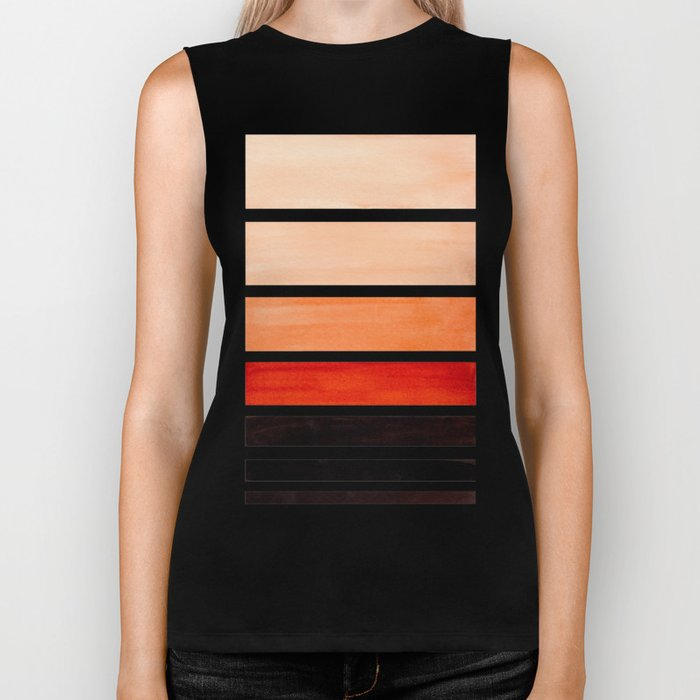 Brown Minimalist Watercolor Mid Century Staggered Stripes Rothko Color Block Geometric Art Biker Tank