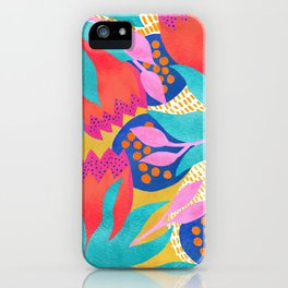 Bold Flower Pattern Yellow Background iPhone Case