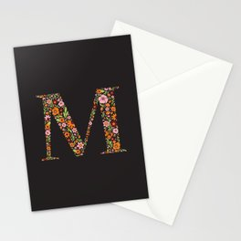 Retro Floral Letter M Stationery Cards