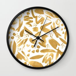 Modern abstract gold strokes paint Wall Clock