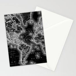Black and White World Map (1864) Inverse Stationery Cards