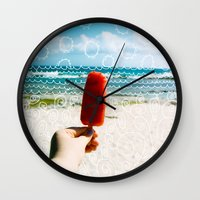 popsicle Wall Clocks featuring Popsicle  by Caroline Fahey