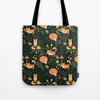 foxes Tote Bags featuring Foxes by Julia Badeeva