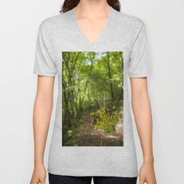 A leaf in the walk path Unisex V-Neck