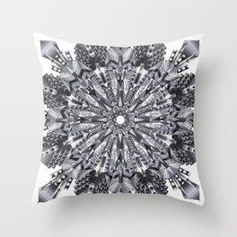 Black and White Snowflake Mandala on Clarinet Reeds Throw Pillow