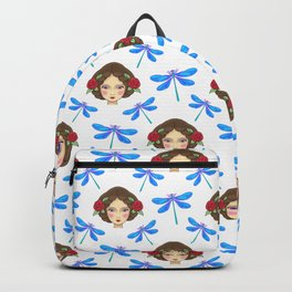Pretty blue dragonflies, young girls dolls. Feminine folk artistic gorgeous lovely seamless pattern. Backpack