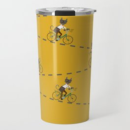 Gray hipster cat on a blue bicycle Travel Mug