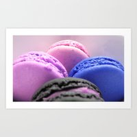 macaroons Art Prints featuring macaroons by Whimsy Romance & Fun