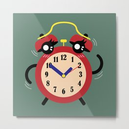 Dancing Red Alarm, Time Is Running Out Green BG Metal Print