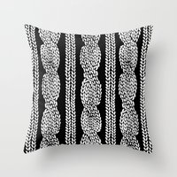 Cable Black Throw Pillow