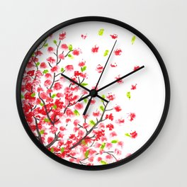 cherry blossom painting Wall Clock