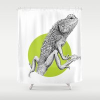 lizard Shower Curtains featuring Lizard by HanYong