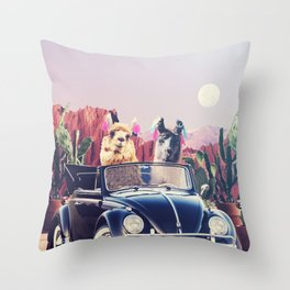 Llamas on the road Throw Pillow