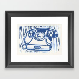 Rotary Phone Lino Framed Art Print