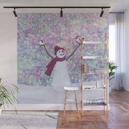 snowman and chickadees Wall Mural