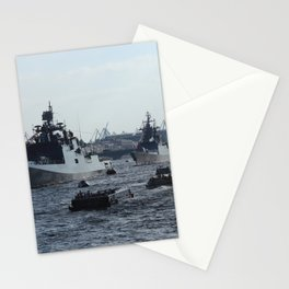 Russian Navy Battleships with passenger boats on Neva River. Stationery Cards