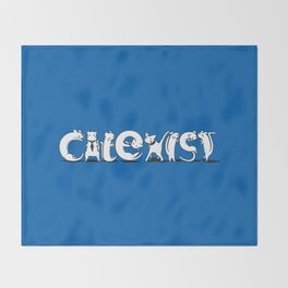Cat Exist | Coexist Parody Typography Throw Blanket