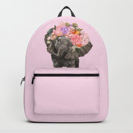 Baby Elephant with Flower Crown in Pink Backpack