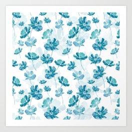 Blue cosmos flower Art Print