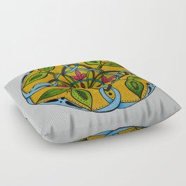 Leaf Flower Celtic Knot Mandala Original Signed Print Spiritual Art Floor Pillow
