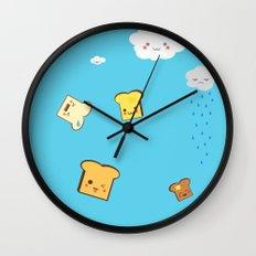 Flying Toast On Blue Wall Clock