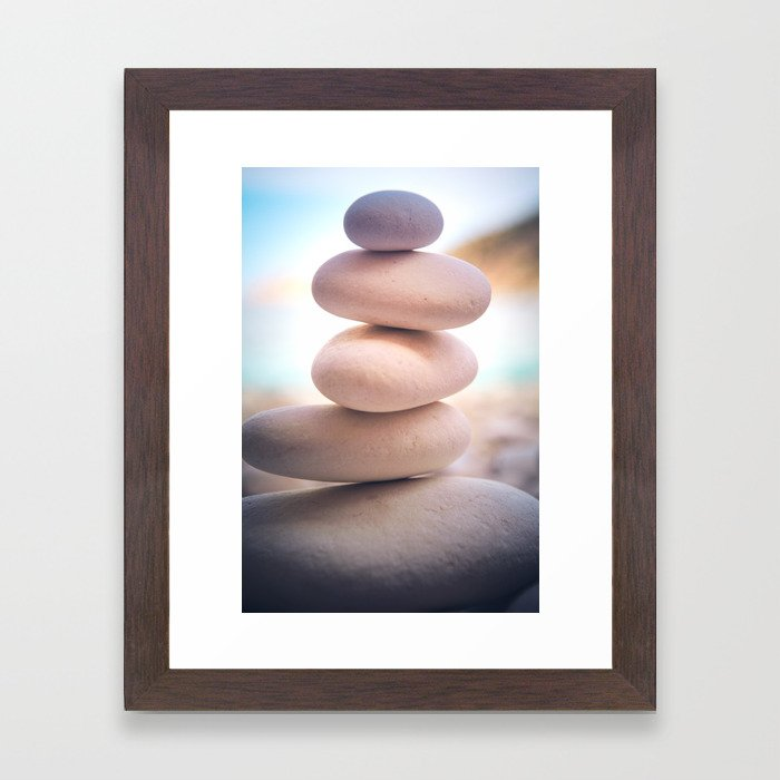 Zen beach rocks print, balancing pebbles, Yoga room art, Beach decor, wall art Framed Art Print