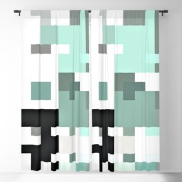 mint petrol white grey green abstract geometric pattern Blackout Curtain