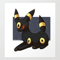 umbreon Art Prints featuring Umbreon by Mirikun
