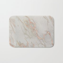 Marble - Rose Gold Marble Metallic Blush Pink Bath Mat