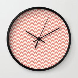 Red & Cream Summer Arrow Chevron Pattern Wall Clock