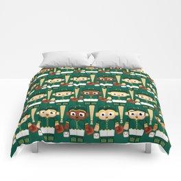 Baseball Green and Gold - Super cute sports stars Comforters