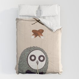 Spaghetti Owl (Diptych) Comforters