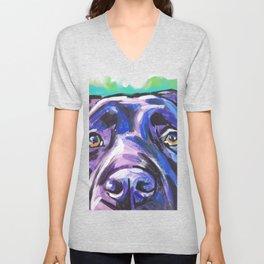 black Labrador Retriever Dog Pop Art by Lea Unisex V-Neck