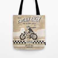 cafe racer Tote Bags featuring CAPTIAN RACER by Morselli Mattia