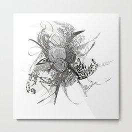 50 shades of lace Grey Silver Metal Print
