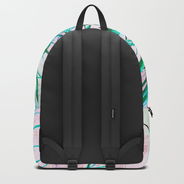 Blue palm trees with triangles Backpack