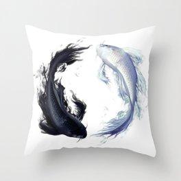 Yin Yang Carps Throw Pillow