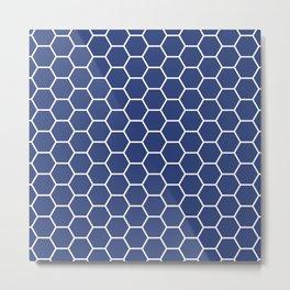 Blue honeycomb geometric pattern Metal Print
