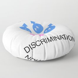 Gender discrimination- male cartoons bullying a female gender Floor Pillow