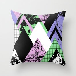 Textured Points - Marbled, pastel, black and white, paint splat textured geometric triangles Throw Pillow