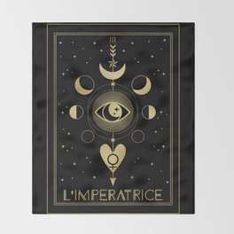 L' Imperatrice or The Empress Tarot Gold Throw Blanket