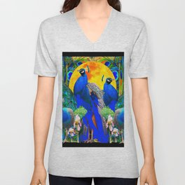 IRIS ART BLUE PEACOCKS & FULL GOLDEN MOON Unisex V-Neck