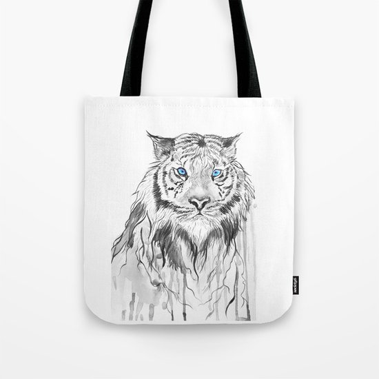 Tiger, black and white Tote Bag