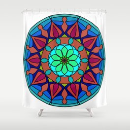 Hand-drawn colored mandala Shower Curtain
