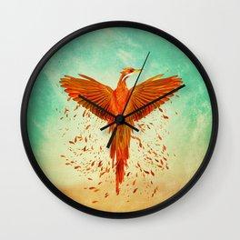 Phoenix Rising -Mixed media Wall Clock