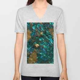 Teal Oil Slick and Gold Quartz Unisex V-Neck