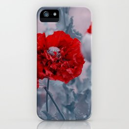 Red filled big poppy modern for the wall iPhone Case